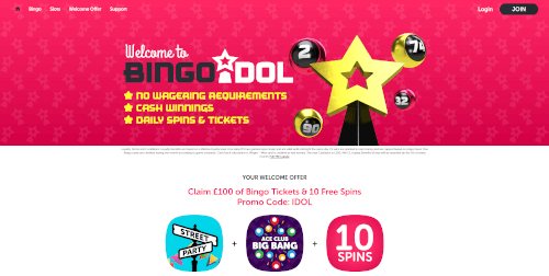 Bingo Idol Homepage