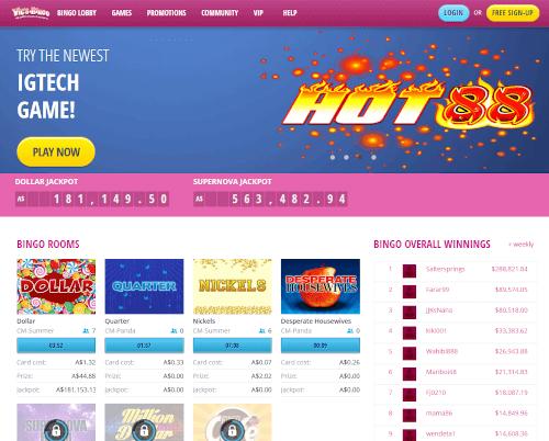 Vics Bingo Homepage