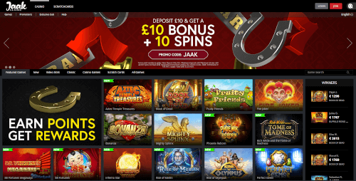 Jaak Casino Homepage