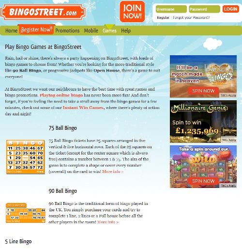 Bingo Street Games