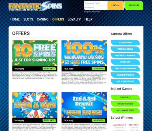 Fantastic Spins Casino Bonuses