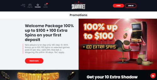 Shadowbet Casino Bonuses