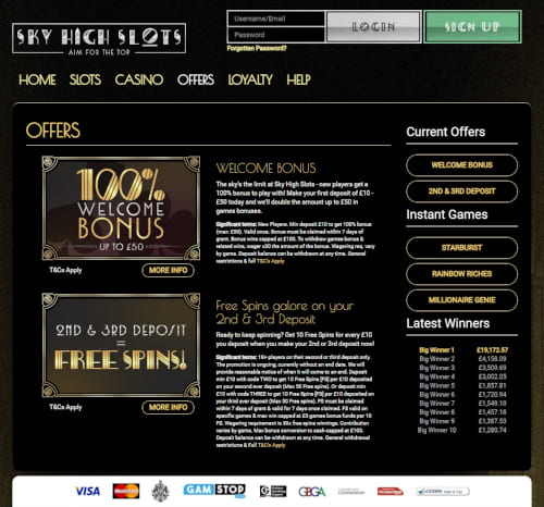 Sky High Slots Offers