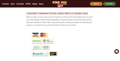 Grande Vegas Casino Banking